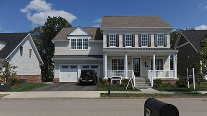 The exterior of a model home in the Newbury plan in South Fayette, which is priced at $615,060.