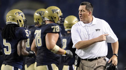 New coach Paul Chryst exhorts the Panthers in his Pitt debut Saturday night at Heinz Field.