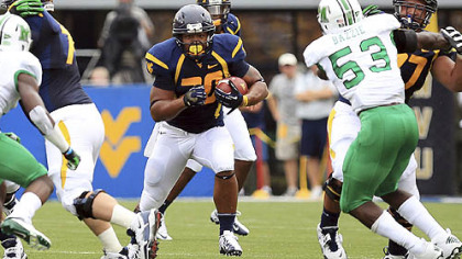 West Virginia running back Shawne Alston led the Mountaineers with 123 rushing yards Saturday against Marshall.