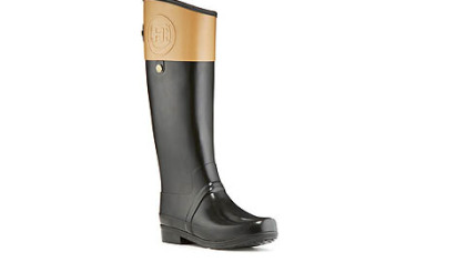 Hunter Boot's Regent Carlyle equestrian rubber Wellie, shown in black with cafe latte, is also available in black with chocolate contrast or brown with dark olive contrast. It retails for $195. www.hunter-boot.com