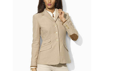 This Ralph Lauren Blue Label khaki hacking jacket with suede elbow patches retails for $398. www.ralphlauren.com