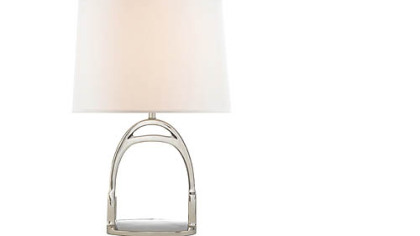 The Westbury accent lamp by Ralph Lauren features a stirrup design. It comes in nickel or brass and is available in two sizes. The one shown here retails for $1,200 www.ralphlaurenhome.com