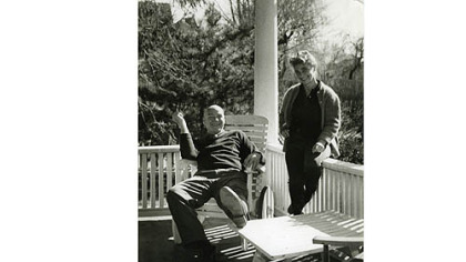 Crockett Johnson and Ruth Krauss on their front porch in 1959.