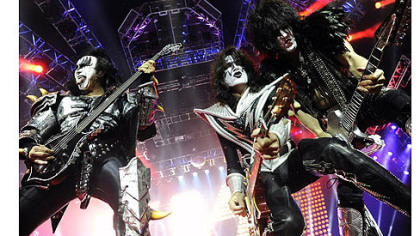 Gene Simmons, Tommy Thayer and Paul Stanley perform with KISS at First Niagara Pavilion Sunday night.