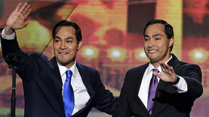 San Antonio Mayor Julian Castro, left, and his brother Joaquin Castro wave to the Democratic National Convention in Charlotte, N.C.
