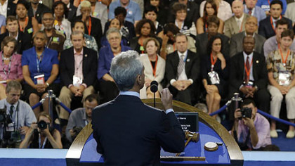 Chicago Mayor Rahm Emanuel speaks to delegates at the Democratic National Convention in Charlotte, N.C.