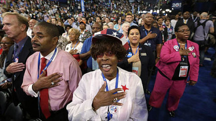 North Carolina delegates recites the Pledge of Allegiance on Tuesday during the Democratic National Convention in Charlotte, N.C.