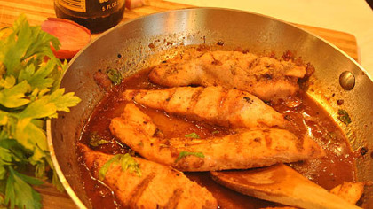 Chicken with Honey-Beer Sauce.