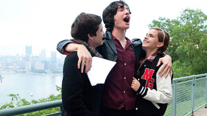 "Logan Lerman, Ezra Miller and Emma Watson at the West End Overlook during filming of ""The Perks of Being a Wallflower"" last year."
