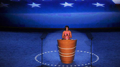 First lady Michelle Obama addresses the crowd gathered Tuesday at the opening evening of the Democratic National Convention at the Time Warner Cable Arena in Charlotte, N.C.