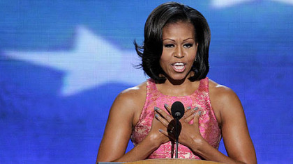 First lady Michelle Obama addresses the Democratic National Convention in Charlotte, N.C.