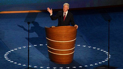Former President Bill Clinton speaks during day two of the Democratic National Convention.