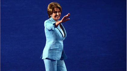 House Minority Leader Nancy Pelosi  leaves the stage after speaking on day two of the Democratic National Convention in Charlotte, N.C.