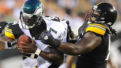 Steelers nose tackle Steve McLendon sacks Eagles quarterback Michael Vick during a preseason game i Philadelphia last month.