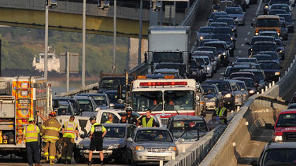 Traffic is at a halt Thursday morning after a multi-vehicle crash shut down the eastbound lanes of the Parkway East near the Grant Street ramp.