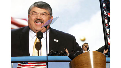 Richard Trumka, President of the AFL-CIO, addresses the Democratic National Convention on Wednesday in Charlotte, N.C.