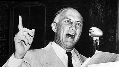 Sen. Strom Thurmond in 1957, setting the filibuster record of 24 hours, 18 minutes. His cause: to oppose civil rights legislation.