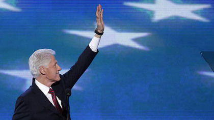 Former President Bill Clinton waves to the delegates Wednesday before addressing the Democratic National Convention in Charlotte, N.C.
