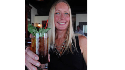 Dish Osteria's Raelynn Harshman offers a strawberry balsamic shrub with Wigle rye whiskey and fresh basil.