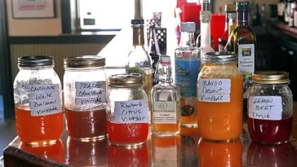 Shrubs, vinegar-based fruit preserves, at Dish Osteria on the South Side.