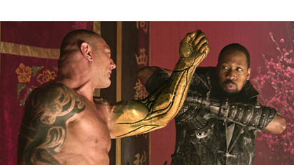 "Dave Bautista, left, and RZA star in ""The Man With the Iron Fists,"" an action-adventure inspired by kung-fu classics. Russell Crowe and Lucy Liu are also in the movie, which opens Nov. 2."