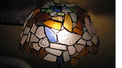Wayne A. Treichel Jr. of Swissvale made this lamp from salvaged glass, wood, copper and wire found along the Monongahela River.