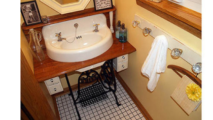 Jeff and Jeannie Smith of Economy are recognized for their creative use of an old sewing machine and sink as a vanity.