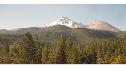 Mount Shasta and Shastina as seen from the Coast Starlight.