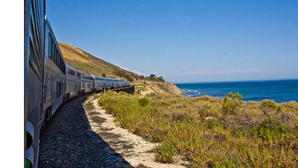 The Coast Starlight near Santa Barbara along the Pacific Ocean.