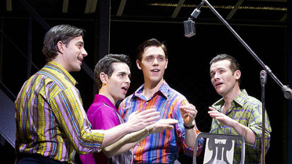 "From left, Brandon Andrus, Brad Weinstock, Jason Kappus and Colby Foytik star in ""Jersey Boys,"" playing Tuesday through Sept. 23 at the Benedum Center."