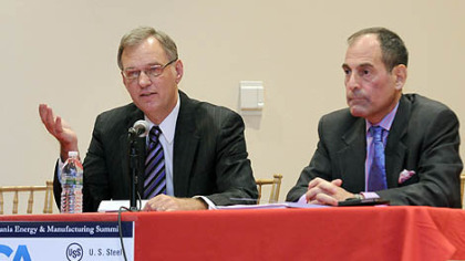 John Hanger, former secretary of the Pennsylvania Department of Environmental Protection, and current state DEP secretary Michael Krancer speak at the 2012 Pennsylvania Energy and Manufacturing Summit, held at the IBEW Local 5 center on the South Side.