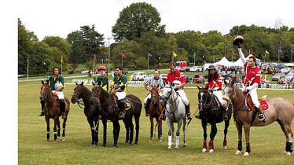 Members of the Virginia International Polo Club from Upperville, Va., and the Potomac Polo Club of Poolesville, Pa.