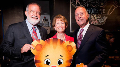 Bob Nelkin, Peggy Joy and Bill Isler with Daniel Tiger.