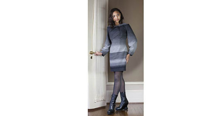 Black and gray striped wool dress, a fall 2012 design by Kiya Tomlin.