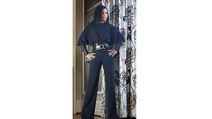 Black crepe jumpsuit with leather sleeves, a Kiya Tomlin design for Fall 2012.