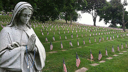 The veterans area in Calvary Catholic Cemetery.