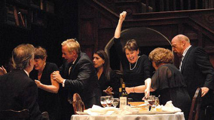 "The cast of Playhouse Rep's ""August: Osage County,"" from left: Mark Staley as Steve, Kathleen Turco-Lyon as Barbara, David Whalen as Bill, Elizabeth Ruelas as Ivy, Mary Rawson as Violet, Sharon Brady as Mattie Fae Aiken and Weston Blakesley as Charlie."