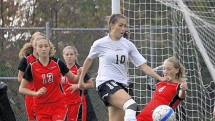 Senior midfielder Carly Seneca, controlling the ball against Fox Chapel during a match last season, leads Gateway in scoring with five goals in three games.