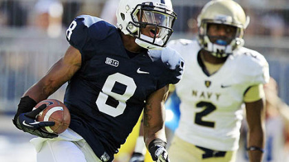 Penn State wide receiver Allen Robinson beats Navy cornerback Parrish Gaines and heads for the end zone for a first-quarter touchdown during today's game in State College.