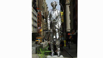 """The Andy Monument"" by artist Rob Pruitt, his homage to Andy Warhol, stood for more than a year alongside Warhol's former Union Square Factory studio in New York."