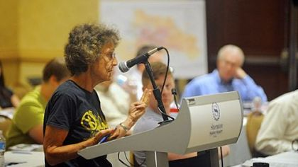Joni Rabinowitz of Park Place speaks during an Aug. 16 meeting at the Sheraton Station Square on Alcosan's proposed $2.8 billion sewer improvement project.