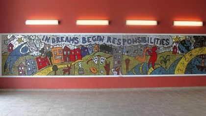 This mural was done by students at Propel Braddock Hills High School under the guidance of teaching artist Laura Jean McLaughlin.