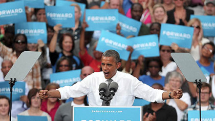 President Barack Obama speaks at a campaign event Monday in Columbus, Ohio.