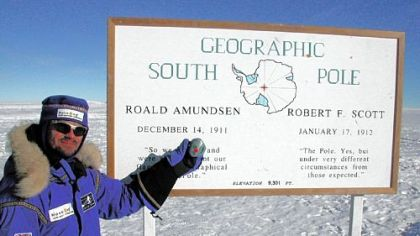 Bret Goodpaster, a professor at the University of Pittsburgh School of Medicine, holds up a Body Media monitor used during a 2002 trip to the South Pole.