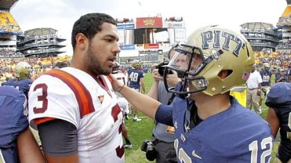 Virginia Tech's Logan Thomas, left, entered the game Saturday as the quarterback of the No. 13 team in Division I-A, but it was Tino Sunseri who owned the day == a day that earned him Big East player of the week honors for the second time in his career.