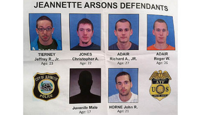 Five adults and a juvenile were arrested for a string of arsons in Jeannette.