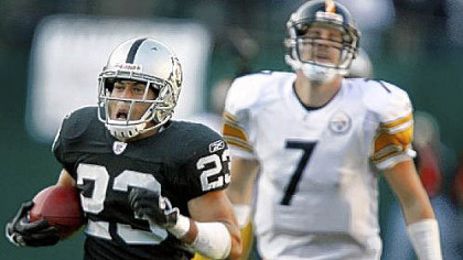 In his only previous start in Oakland, on Oct. 29, 2006,  Ben Roethlisberger threw two interceptions that were returned for touchdowns, including this one for 100 yards by Chris Carr.