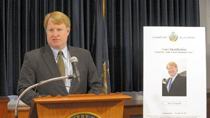 Allegheny County Executive Rich Fitzgerald announces a new form of county-supplied voter ID on Thursday.