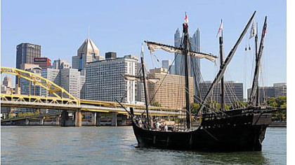 A replica of the Nina, one of Christopher Columbus' ships from 1492, arrives in Pittsburgh Thursday. Both the Nina and Pinta are docked at the North Shore Riverfront Park and open to the public for tours.