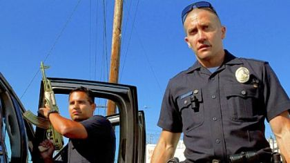 "Michael Pena and Jake Gyllenhaal star as police officers in ""End of Watch."""